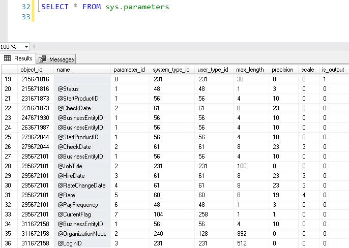 sys.parameters sorgusu
