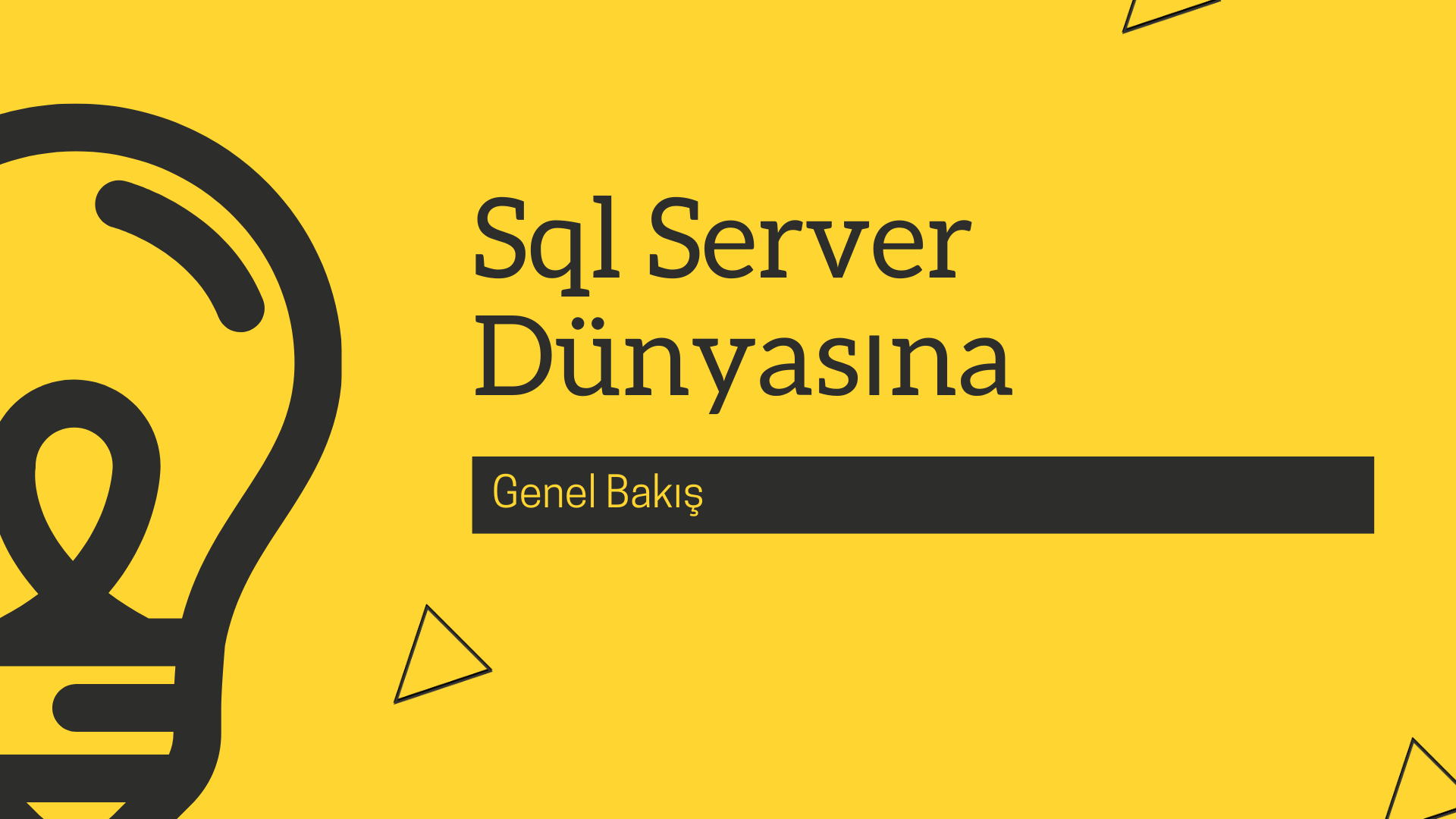 Sql Server Dünyasına Genel Bakış